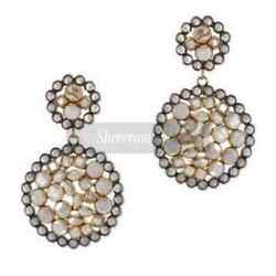 New Arrival Polki Pave Diamond Jewelry 925 Sterling Silver Stud Earring S147