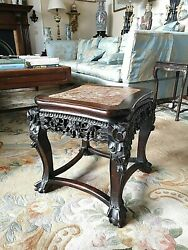 Chinese Darkwood Table Marble Inset Qing Dynasty 19th C