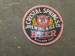 Porcelain Crystal Springs Beer Enamel Sign Size 4 Inches Round