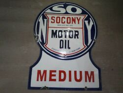 Porcelain Socony Motor Oil Sign Size 21 X 15 Inches