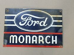 Porcelain Ford Monarch Sign 12 X 8 Inches Pre-owned