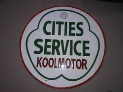 Porcelain Cities Service Sign Size 30 Double Sided Pre-owned.