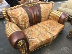 Gold Boroko Style Real Brown Wood 2 Seat Sofa And Chair