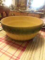 Antique Farmhouse Yellow And Green Ware 1800's Mixing Bowl Large 11 X 5.