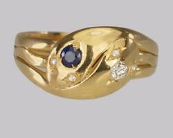 Antique 18ct Gold Old Mine Cut Diamond And Sapphire Snake Serpent Ring London 1902