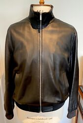 Genuin Brioni Leather With Inside Cashmere Jacket Size M.andnbsp