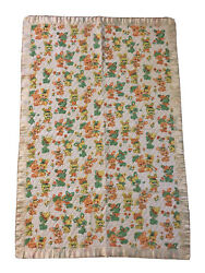 Vintage Baby Quilt Quilted Crib Blanket Satin Binding Bunny Rabbits Soft Cotton
