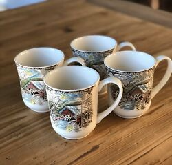 Johnson Brothers The Friendly Village Set/4 Mugs Made In England Stamp Free Ship