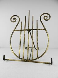 Tabletop Heavy Decorative Antiqued Gold Brass Music Art Display Easel Stand