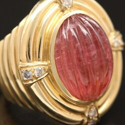 Vintage Tourmaline Ribbed Cabochon With 18k Gold And Diamond Ring