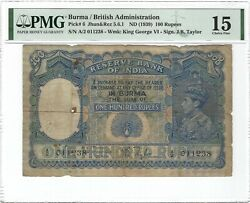Burma Reserve Bank Of India 100 Rupees 1939 P-6 Pmg 15 Fine Rare And Pretty Type