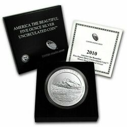 2010-p 5 Oz Burnished Silver Atb Mt Hood National Park W/box And Coa