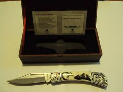 Falkner Collectable Folding Knife Bald Eagle With Mountains