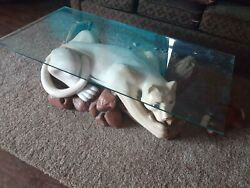 Panther Glass Coffee Table Beautifully Cast Vintage Hunt Camp Wildlife Themed