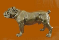 Vtg Old Life-size Bronze Sculpture Of A Standing French English Bulldog Figurine