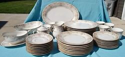 Noritake Fine China 8 Place Setting - Gallery Floral Pattern - 47 Pieces Total