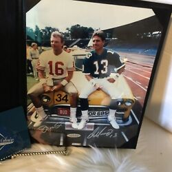 Autographed Dan Marino And Joe Montana Picture Sitting On Taxi Authenticated
