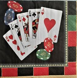 2 Individual Paper Decoupage Beverage Napkins - Play Cards Gambling Casino Chips