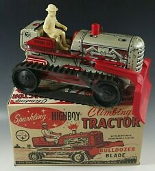 Marx 1950s Climbing Tractor Sparkling Tractor Blade Highboy Windup Toy Mib 6