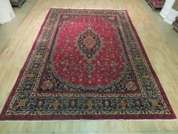 8x12 Authentic Hand Knotted Semi-antique Wool Rug Red B-74000