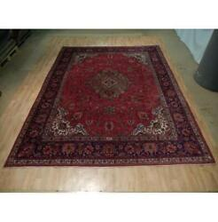 10x13 Authentic Hand Knotted Semi-antique Wool Rug Red B-73107