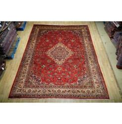 9x12 Authentic Hand Knotted Semi-antique Wool Rug Red B-74740
