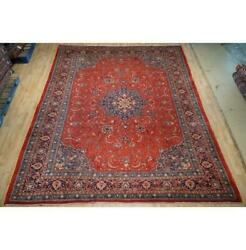 9x12 Authentic Hand Knotted Semi-antique Wool Rug Red B-74789