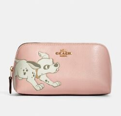Disney X Coach Cosmetic Case 17 With Dalmatian Pink NWT Limited RARE $50.00