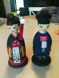Set Of 2 Hand Painted 7 Inch Traditional Korean Wedding Bobblehead Clay Dolls