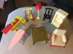 Lot 8 Renwal Chairs-table-sewing Lamp -vintage Living Room Dollhouse Furniture