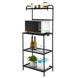 4 Tier Wire Shelving Rack Microwave Household Storage Metal Shelf Organizer