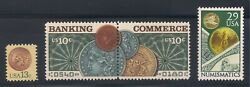 Coins On U.s. Postage Stamps 1877 Penny, St Gaudens Gold Coin, Morgan Dollar