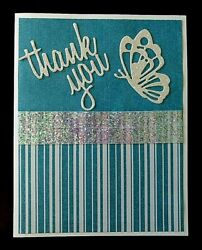 THANK YOU CARD THANK YOU amp; BUTTERFLY DIE CUT FROM GLITTER CARD STOCK