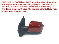 2015 2016 2017 Ford F-150 Left Side Mirror With Blind Spot Fl34-17683-ru5dst