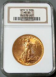 1914 S Gold 20 Saint Gaudens Double Eagle Coin Ngc Mint State 63