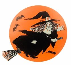 Halloween Decoration Vtg 1950 To 1960s Wall Hanging Sign Witch Broom Bats Salem