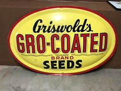 Wow Large Original Vintage Griswold's Gro-coated Seeds Ag Farm Bubble Sign 1951