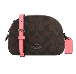 NWT COACH Mini Serena Crossbody Canvas Classic Logo Brown Pink Lemonade 2628 $138.00