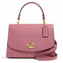 NWT COACH Tilly Top Handle Satchel Leather Classic Logo Charm Rose Pink 76618 $186.00