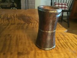 18th Century Leather 3 Gold Bands Dice Cup Rare