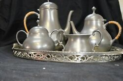 Royal Holland Pewter Kmd Coffee And Tea Service Set W/ Tray Empire Vintage Serving