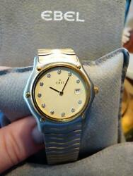 Ebel Stainless Steel 18k Sport Wave Time And Date Diamond Numbers