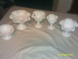 5 Vintage Milk Glass Pedastal Candy Dishes Fancy Ruffled Rims Some Hobnail
