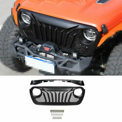 Fit For Jeep Wrangler Jl 2018-2020 Black Car Front Grille Grill Cover Decoration