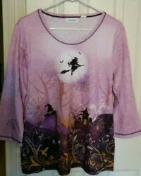 Halloween Witch Womens Top Graveyard Spider Webs Tee Size S M L Purple NEW $12.99