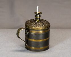 Antique Brass And Pewter Bougie Box Wax Jack Taper Candle C. 1850