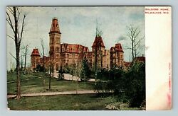 Milwaukee WI Historic Soldiers Home Tower Grounds Vintage Wisconsin Postcard
