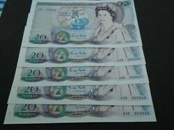5 X Gill Andpound20 Bank Notes 44r 369555 6 7 8 9 Be209c Number Run In Unc March 1988