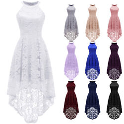 Women#x27;s Halter Lace Dress Sleeveles High Low Party Cocktail Evening Prom Dresses $25.64