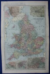 England And Wales, Original Antique Atlas Map, Inset City Plans, Bacon, 1895